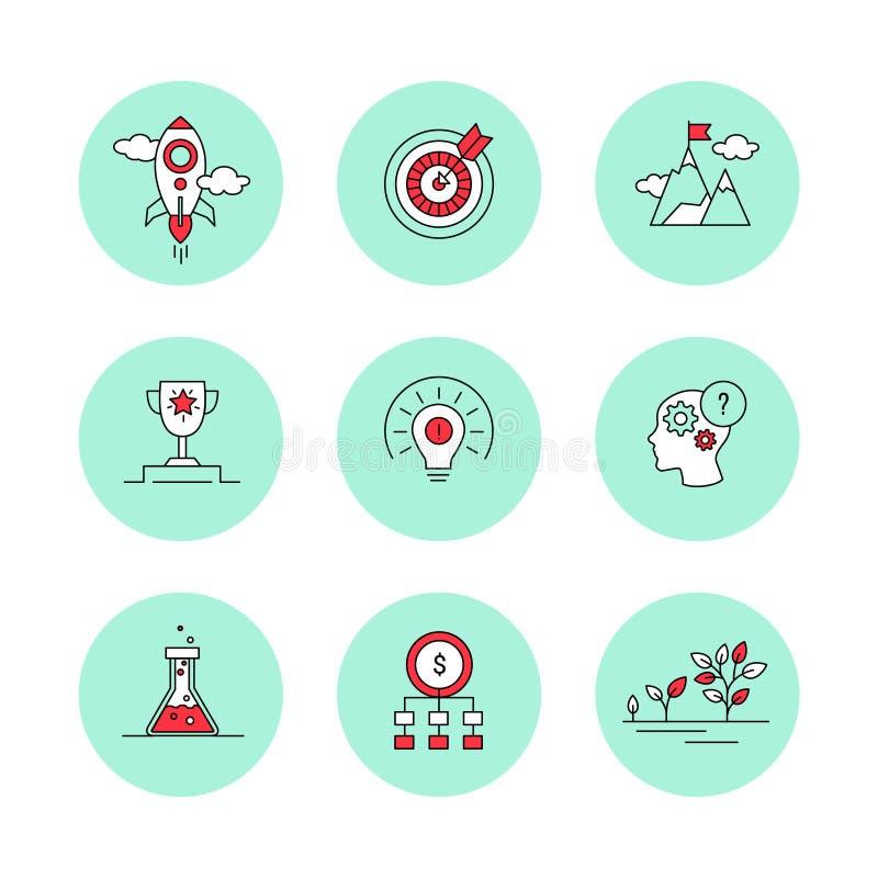 A linha ícones ajustou-se para o negócio, partida, gestão ilustração stock