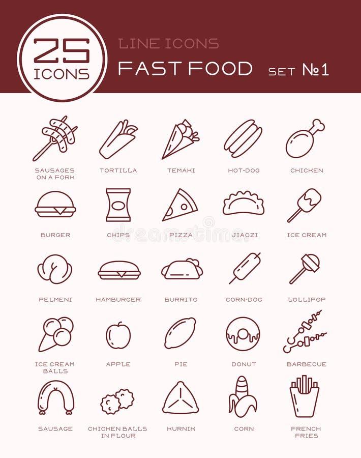 Linha ícones com grupo do fast food ilustração stock