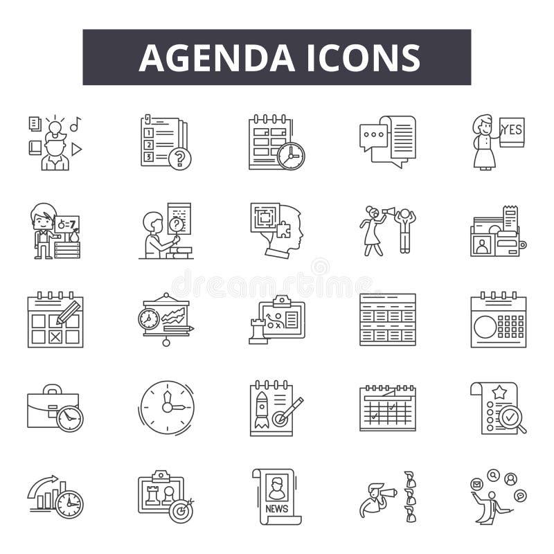 Linha ícones da agenda Sinais editáveis do curso Ícones do conceito: reunião, negócio, calendário, programação, nomeação etc. Age ilustração royalty free