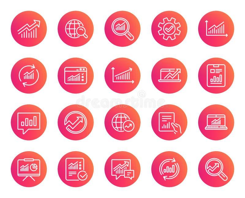 Linha ícones da análise Cartas, relatórios e gráficos ilustração royalty free