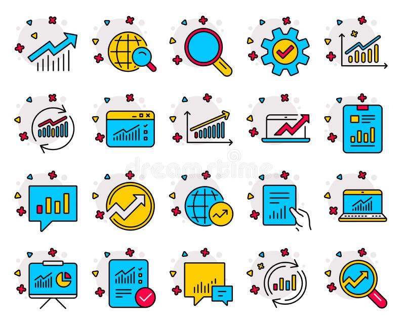 Linha ícones da análise Cartas, relatórios e gráficos Vetor ilustração stock