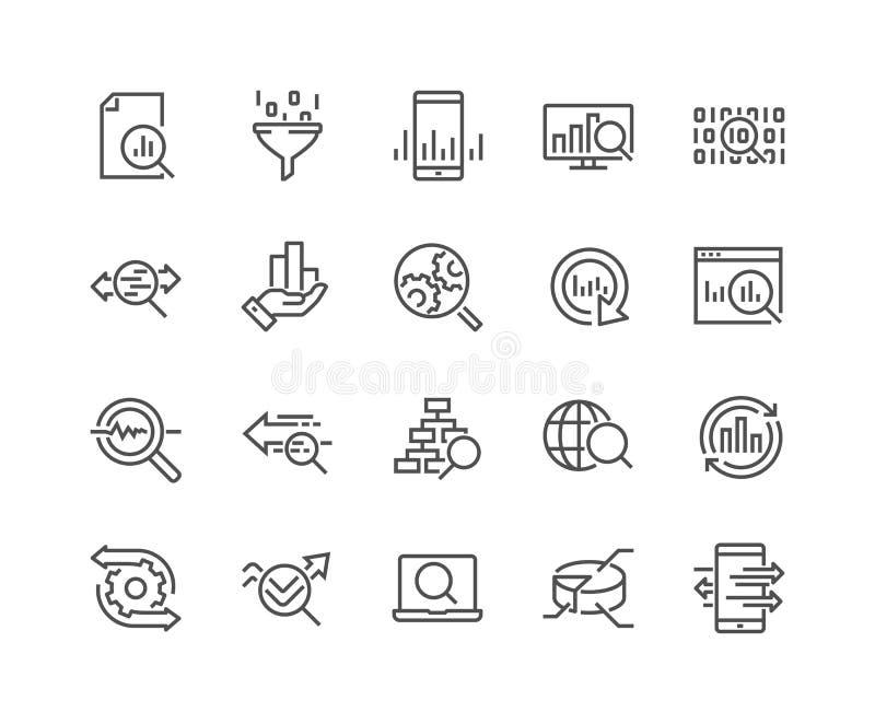 Linha ícones da análise de dados ilustração do vetor