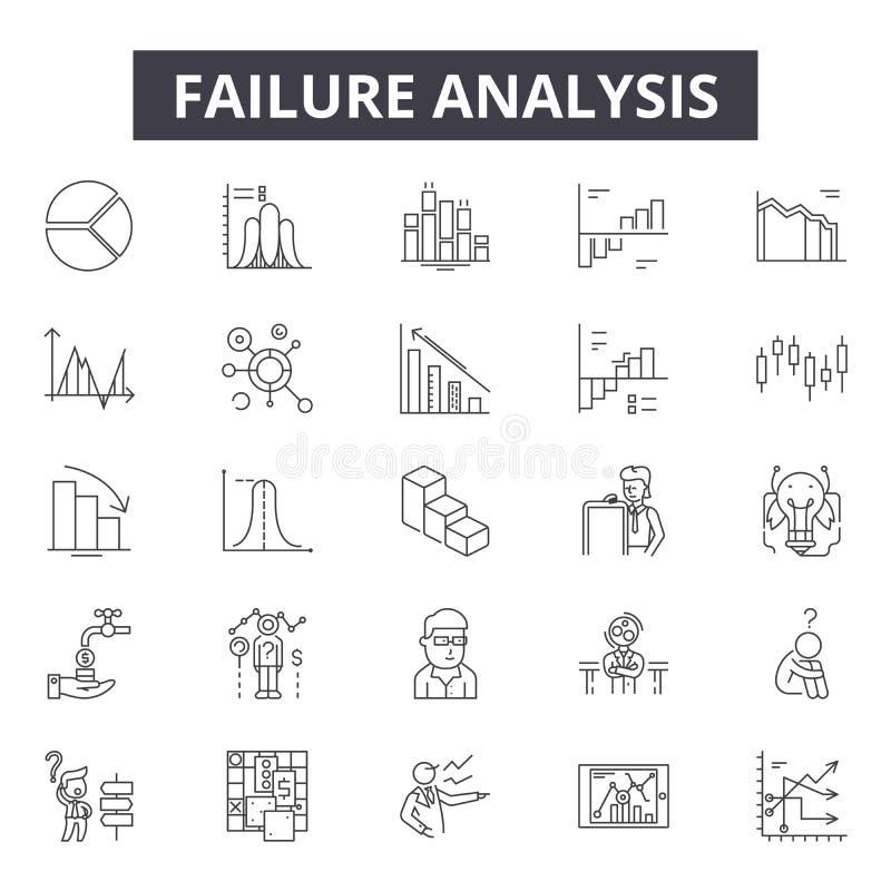 Linha ícones da análise da falha, sinais, grupo do vetor, conceito da ilustração do esboço ilustração stock
