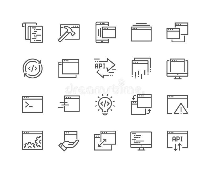 Linha ícones da aplicação ilustração stock