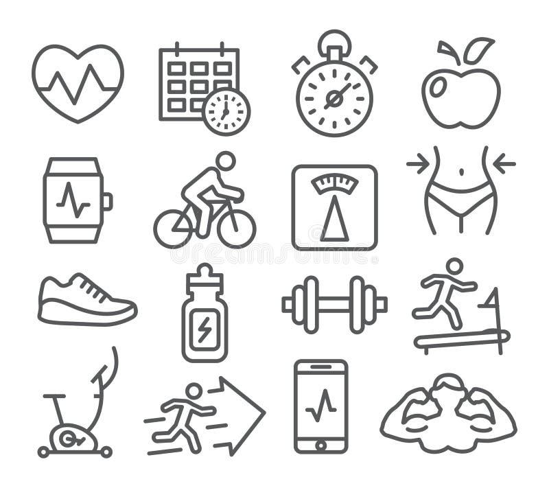 Linha ícones da aptidão e do Gym ilustração royalty free