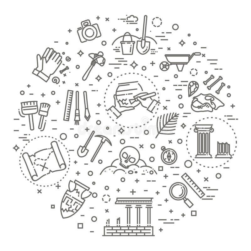 Linha ícones da arqueologia ajustados ilustração do vetor
