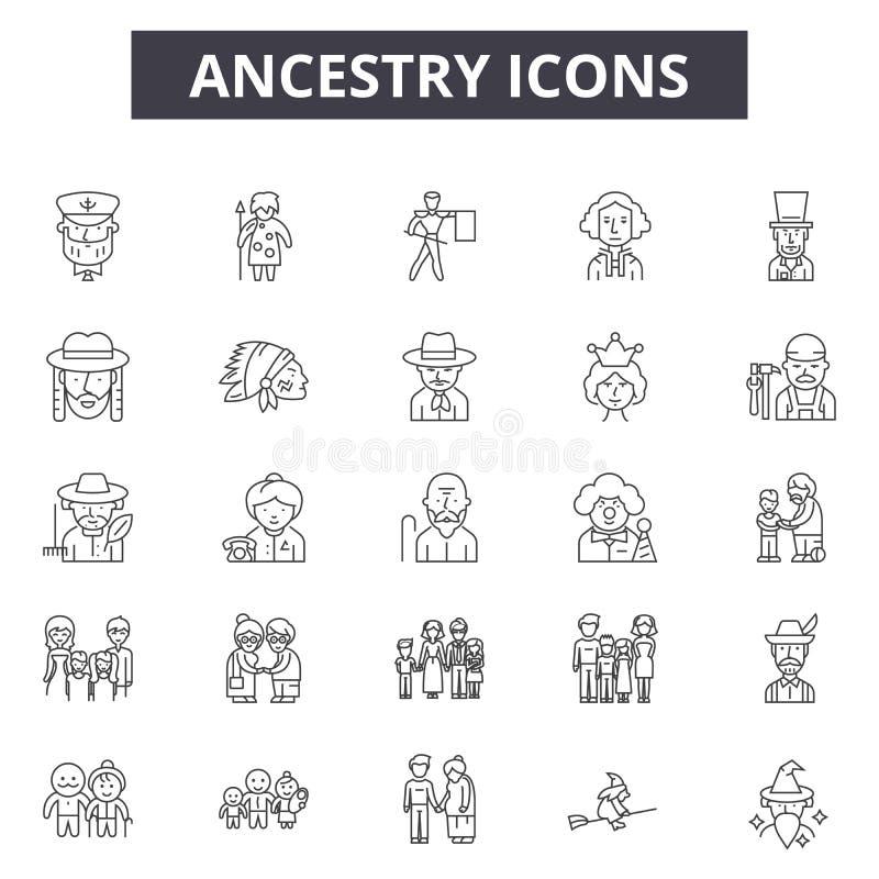 Linha ícones da ascendência, sinais, grupo do vetor, conceito linear, ilustração do esboço ilustração royalty free