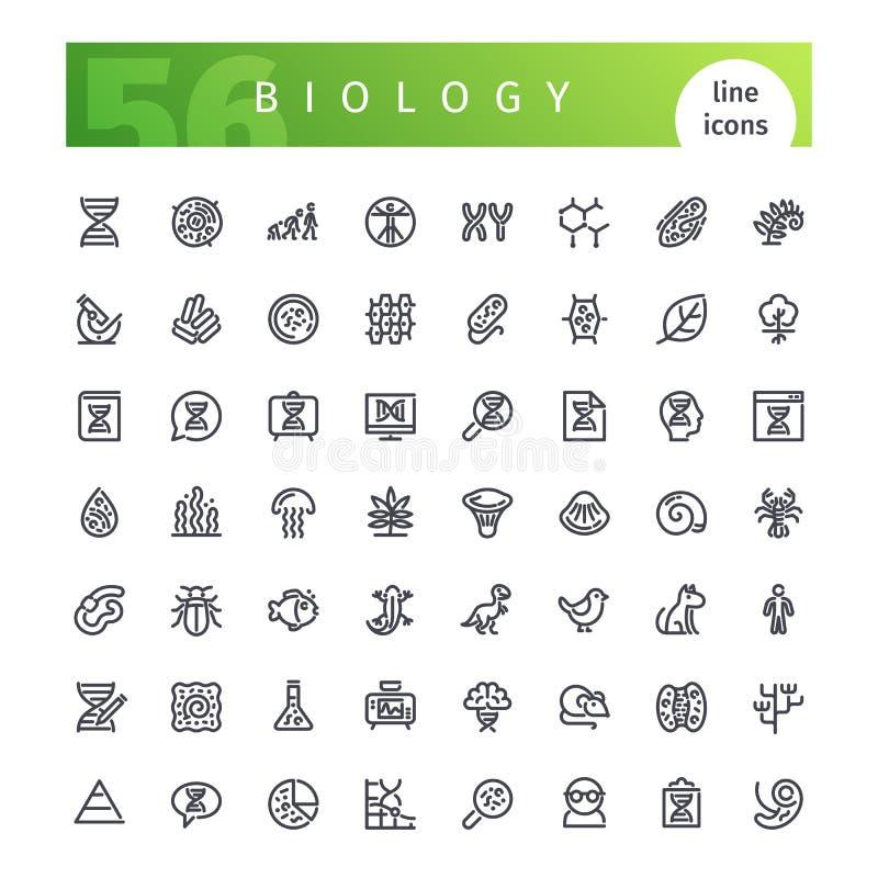 Linha ícones da biologia ajustados ilustração royalty free