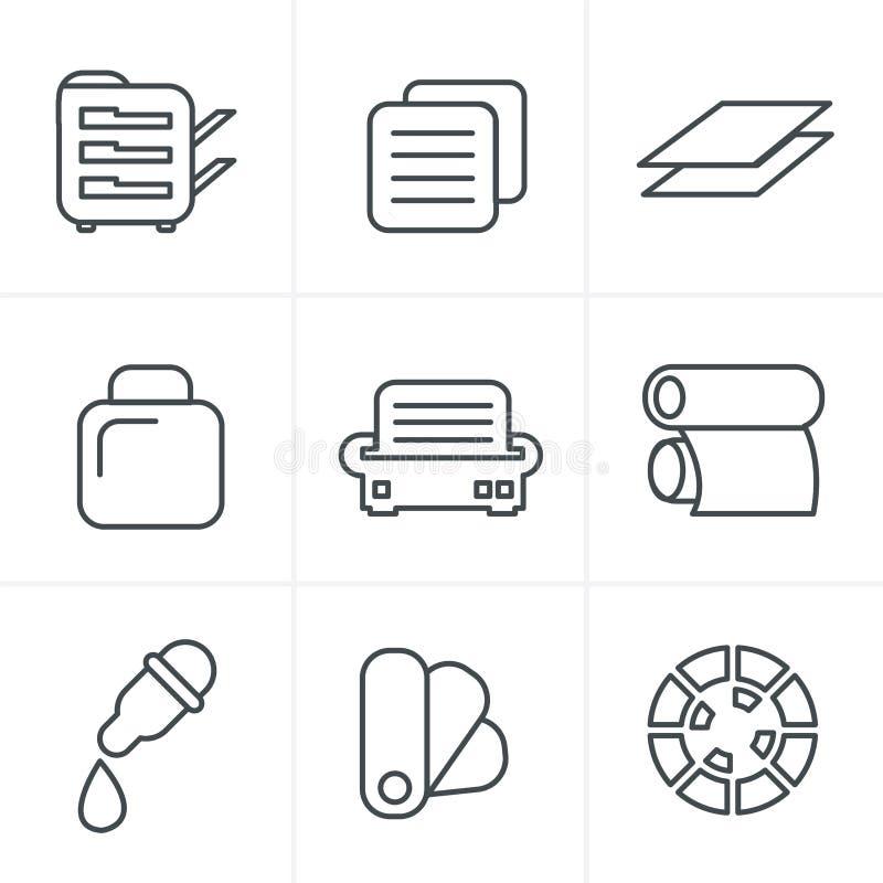 Linha ícones da cópia do estilo dos ícones ajustados ilustração royalty free