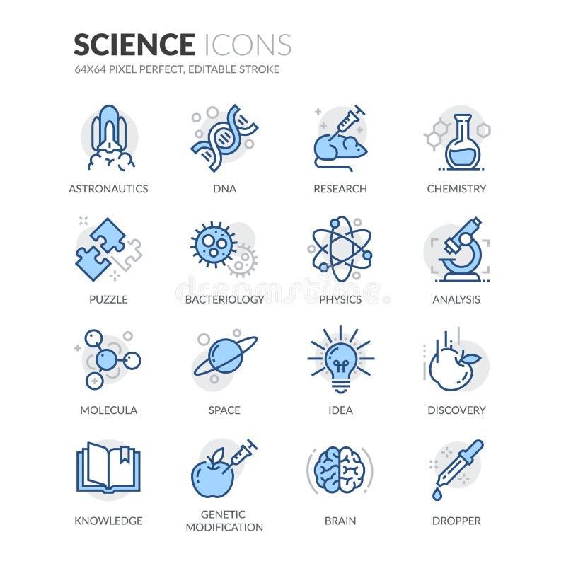 Linha ícones da ciência ilustração stock