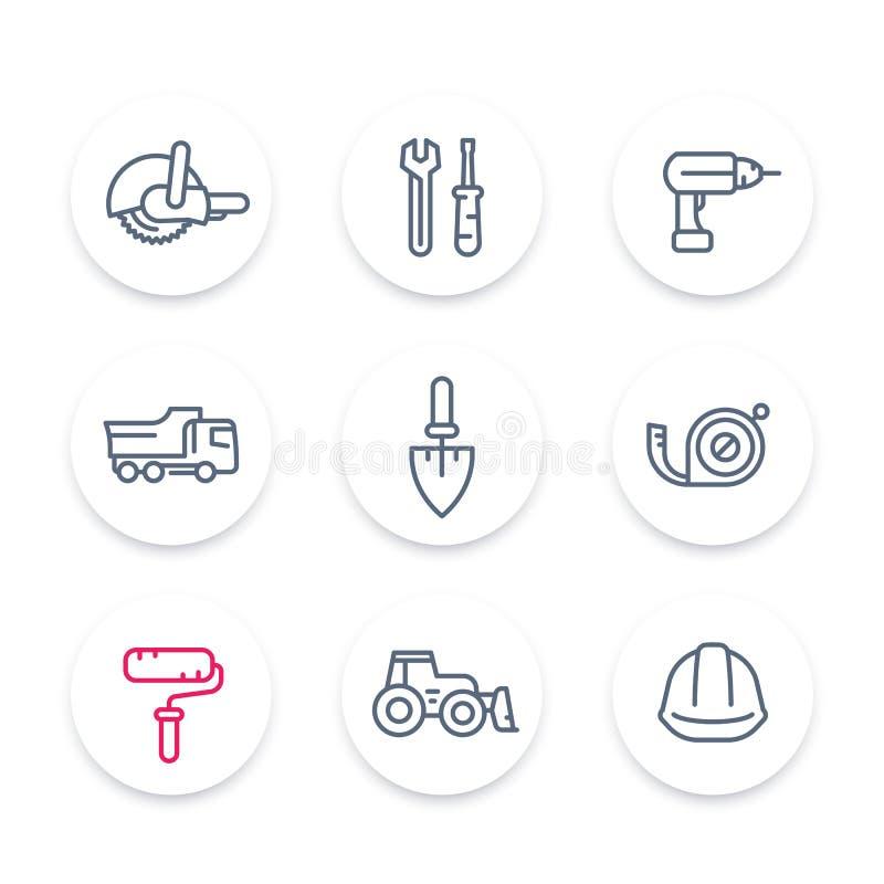 Linha ícones da construção, equipamento de construção e sinais lineares das ferramentas, pictograma, ícones redondos ajustados ilustração do vetor