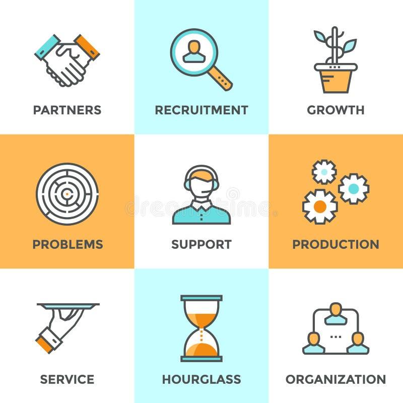 Linha ícones da cooperação e da organização ajustados ilustração stock