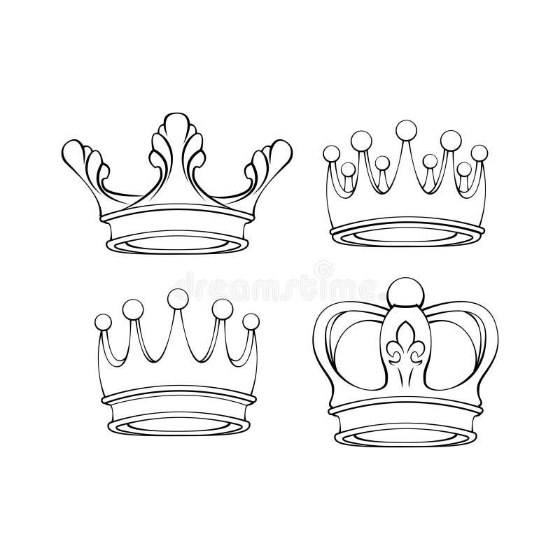 Linha ícones da coroa ajustados Coleção real dos símbolos Elementos do projeto Ilustração do vetor ilustração do vetor