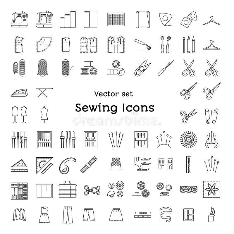 Linha ícones da costura ajustados Costurando fontes e acessórios ilustração do vetor