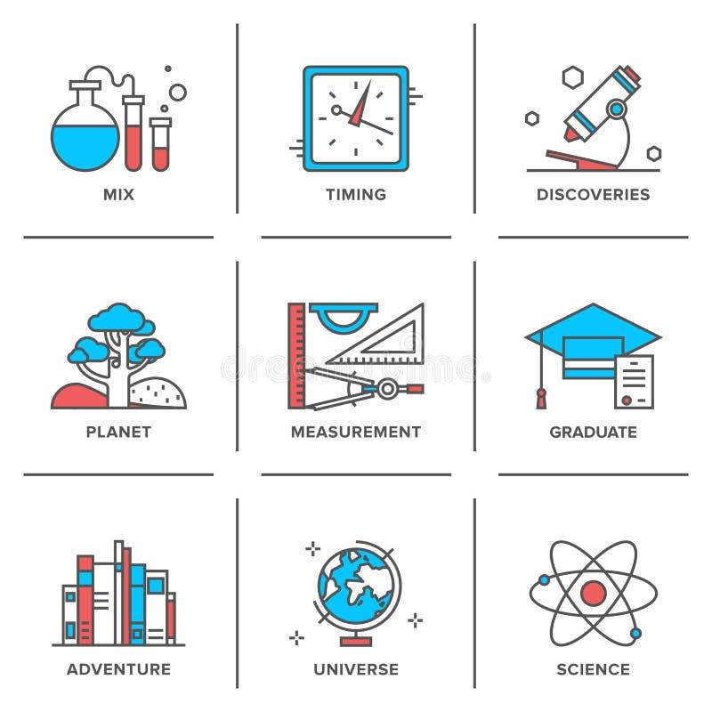 Linha ícones da descoberta e da ciência ajustados ilustração royalty free