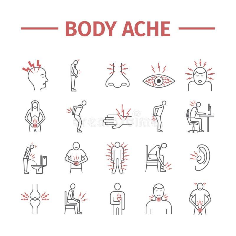 Linha ícones da dor e do ferimento de corpo ajustados Ilustração do vetor para Web site Sinais da medicina ilustração do vetor