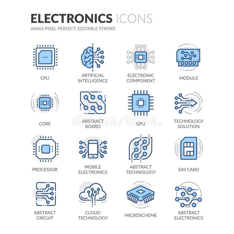 Linha ícones da eletrônica ilustração stock