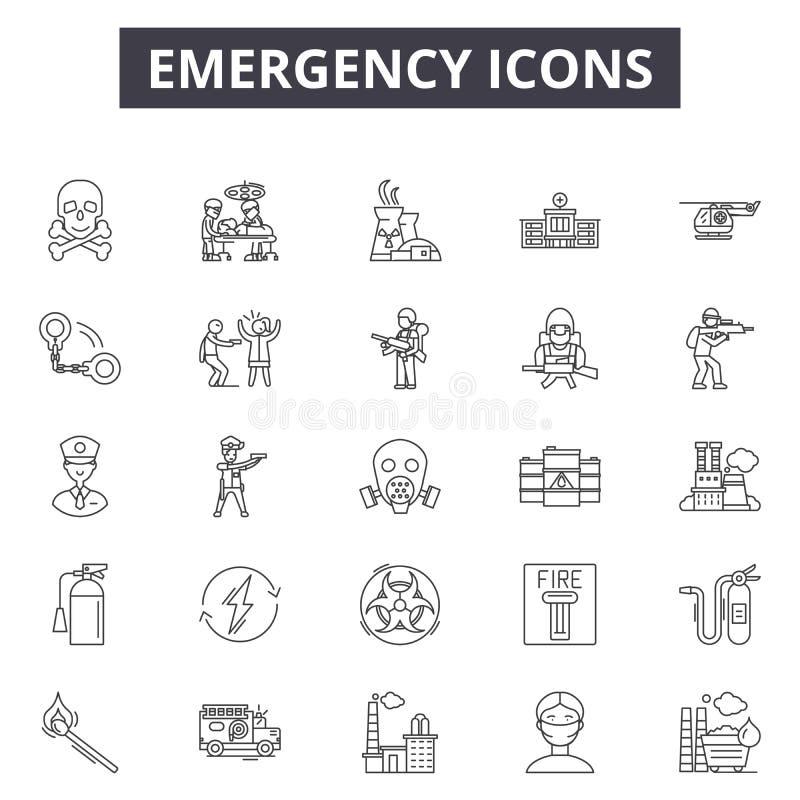 Linha ícones da emergência, sinais, grupo do vetor, conceito da ilustração do esboço ilustração royalty free