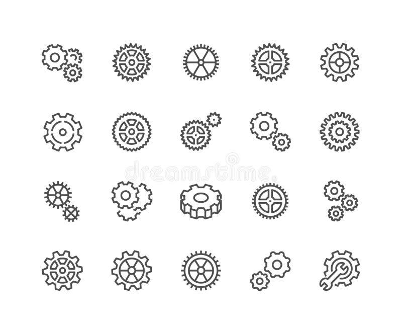 Linha ícones da engrenagem ilustração stock