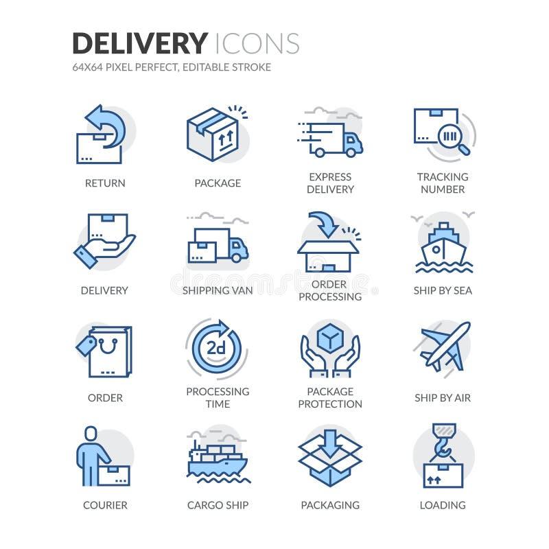 Linha ícones da entrega ilustração stock