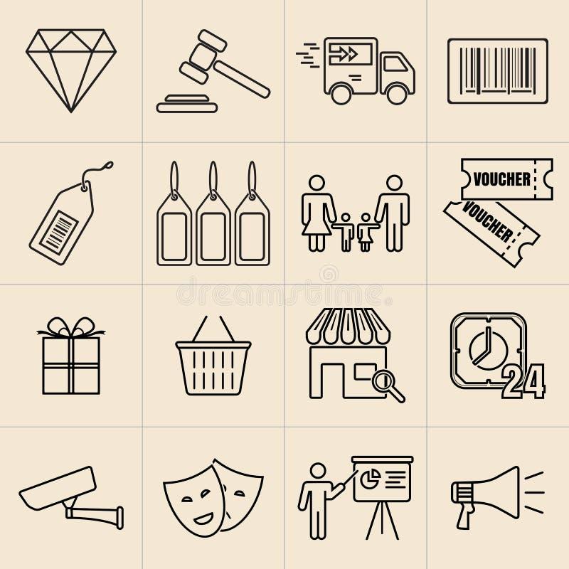 Linha ícones da exposição ilustração stock