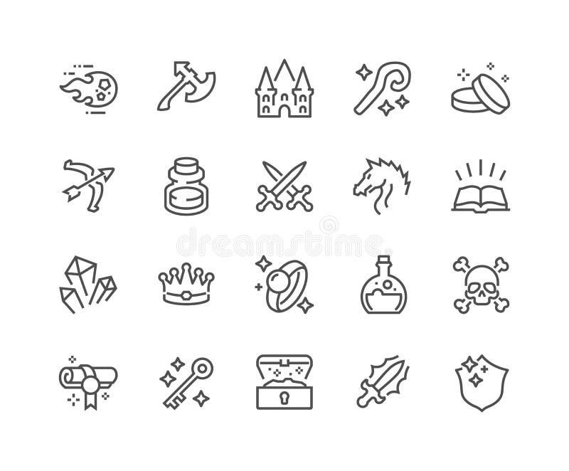Linha ícones da fantasia ilustração do vetor