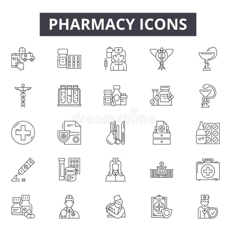 Linha ícones da farmácia, sinais, grupo do vetor, conceito linear, ilustração do esboço ilustração royalty free