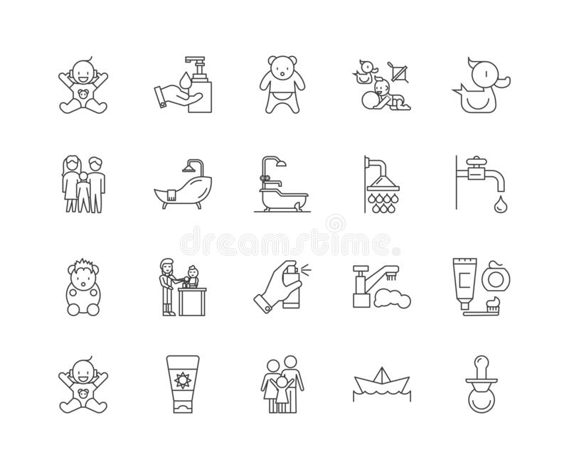 Linha ícones da festa do bebê, sinais, grupo do vetor, conceito da ilustração do esboço ilustração stock