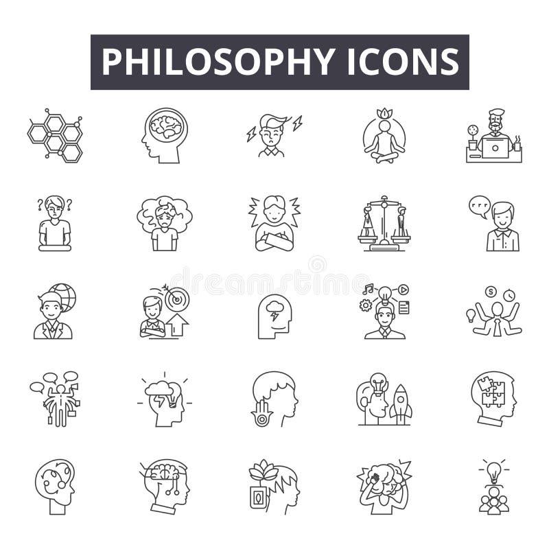 Linha ícones da filosofia, sinais, grupo do vetor, conceito linear, ilustração do esboço ilustração royalty free