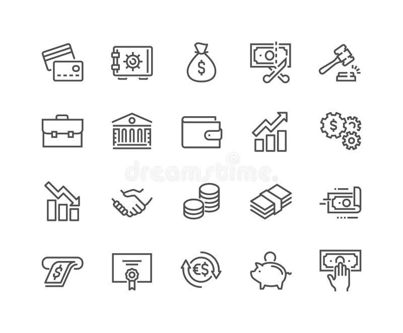 Linha ícones da finança ilustração do vetor