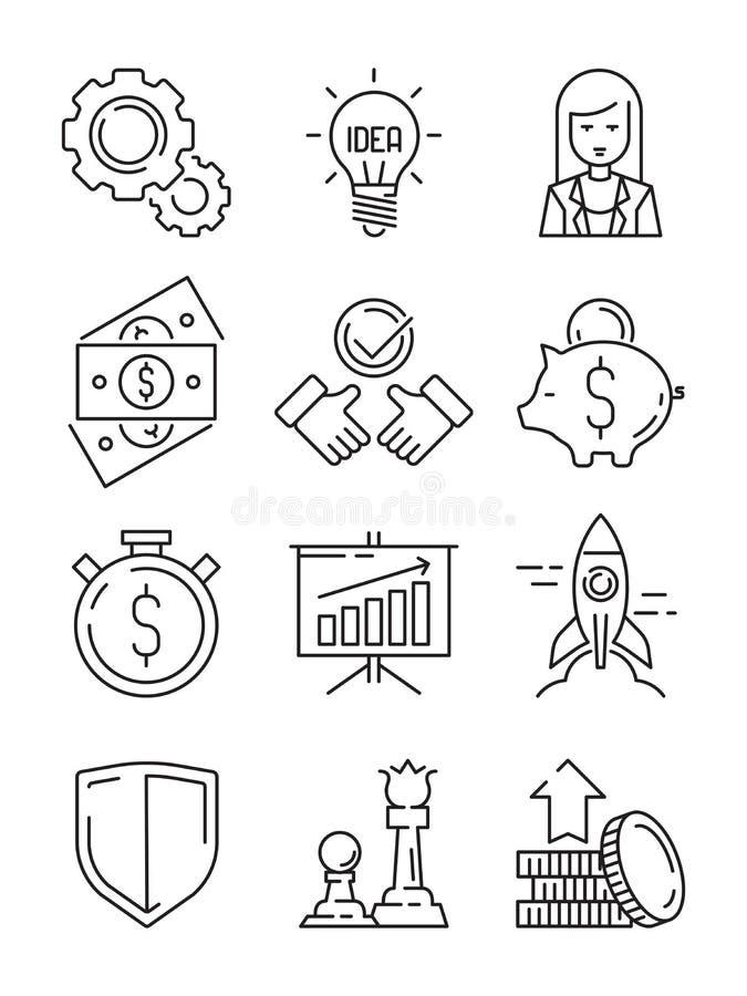 Linha ícones da finança Estratégia da equipe dos símbolos do negócio e esboço econômico do vetor da partida da Web do apoio ilustração stock