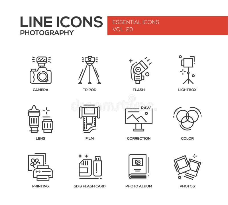 Linha ícones da fotografia do projeto ajustados ilustração royalty free