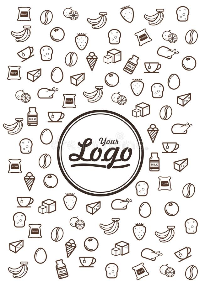 Linha ícones da garatuja do alimento ilustração stock