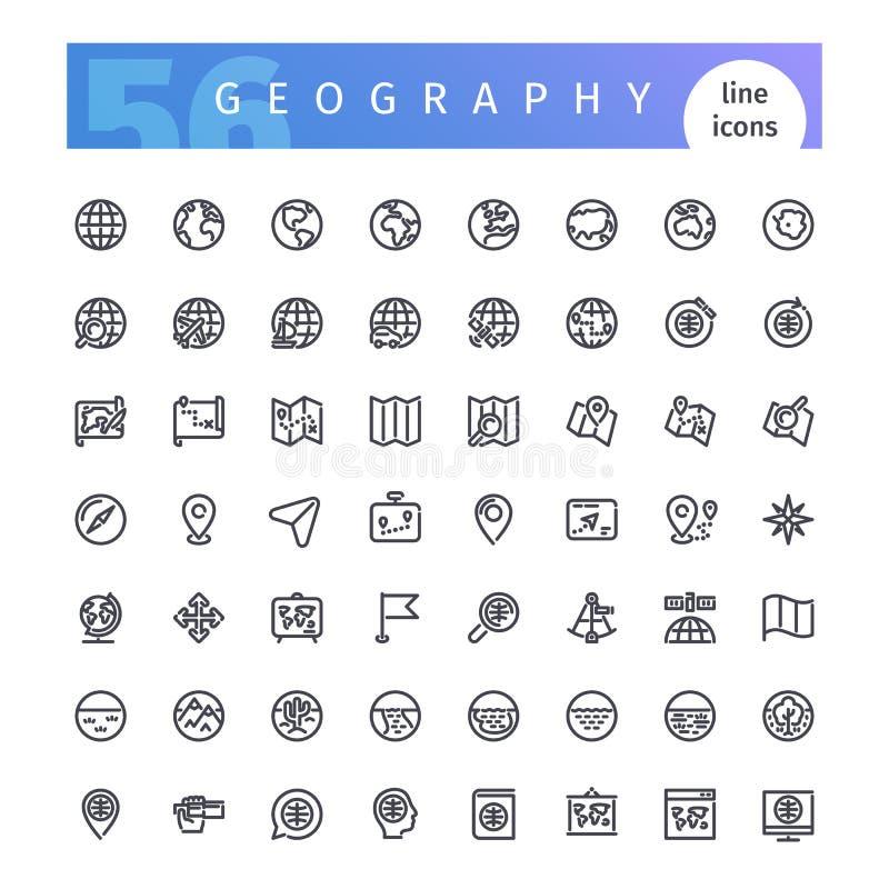 Linha ícones da geografia ajustados ilustração stock