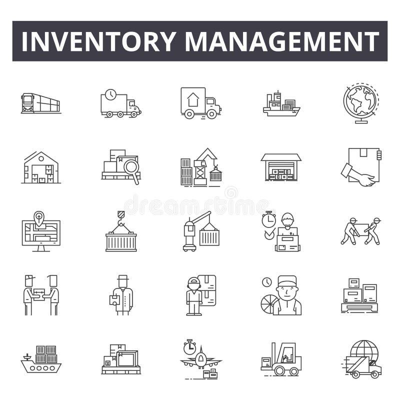 Linha ícones da gestão de inventário, sinais, grupo do vetor, conceito da ilustração do esboço ilustração royalty free