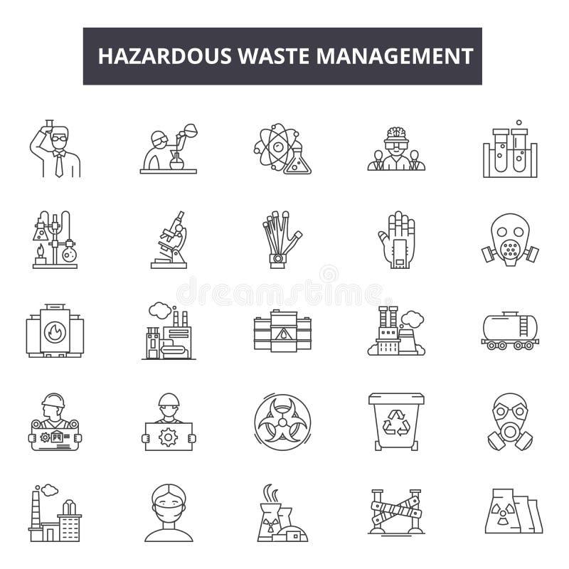 Linha ícones da gestão de resíduos perigosos para a Web e o projeto móvel Sinais editáveis do curso Gestão de resíduos perigosos ilustração stock