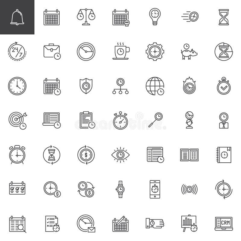Linha ícones da gestão de tempo ajustados ilustração royalty free