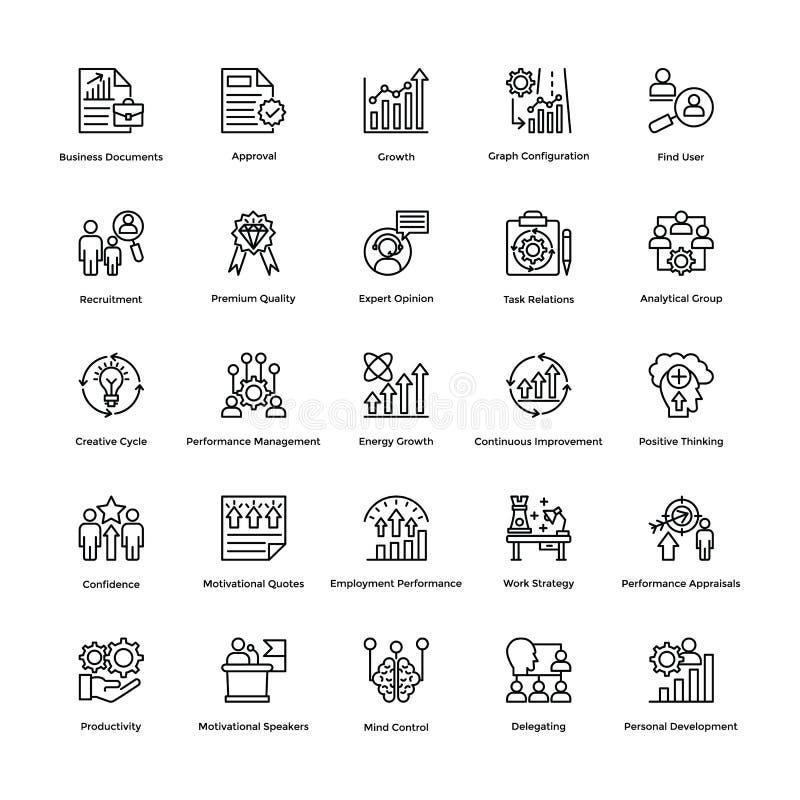 A linha ícones da gestão do projeto do vetor ajustou 12 ilustração royalty free