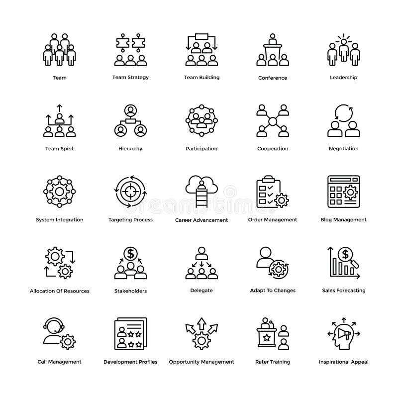 A linha ícones da gestão do projeto do vetor ajustou 3 ilustração do vetor