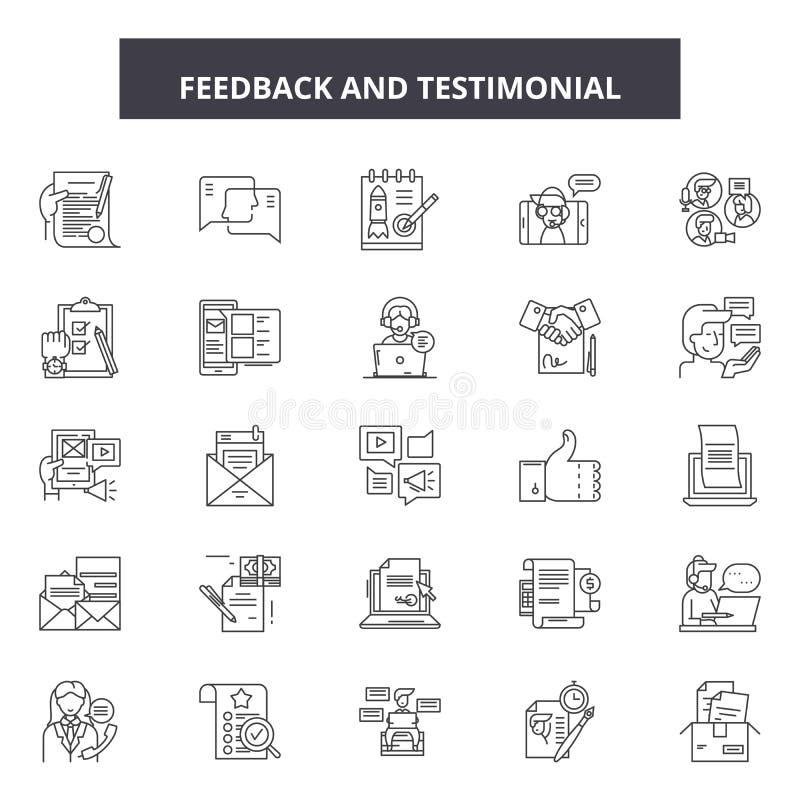 Linha ícones da homenagem do feedback, sinais, grupo do vetor, conceito da ilustração do esboço ilustração do vetor