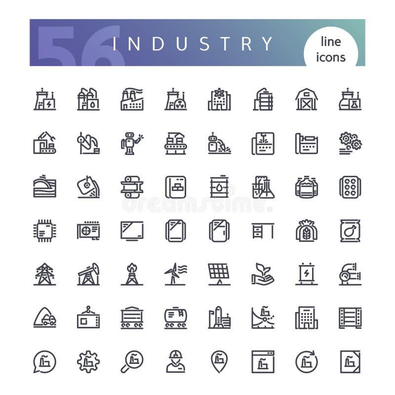 Linha ícones da indústria ajustados ilustração royalty free