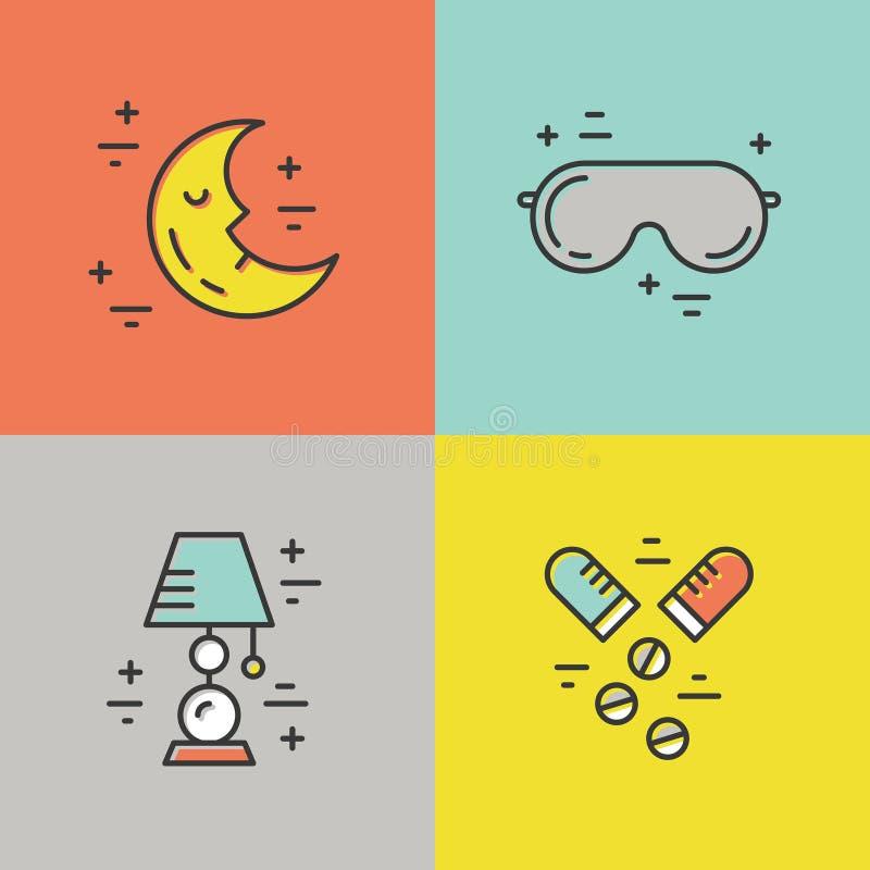 Linha ícones da insônia ilustração stock