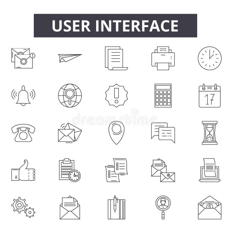 Linha ícones da interface de usuário, sinais, grupo do vetor, conceito linear, ilustração do esboço ilustração royalty free