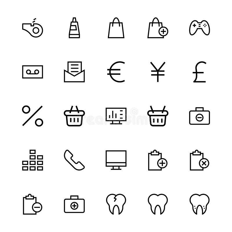 Linha ícones 52 da interface de utilizador do vetor ilustração do vetor