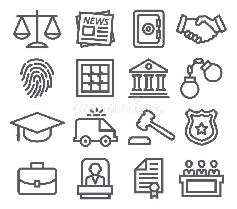 Linha ícones da lei ilustração royalty free