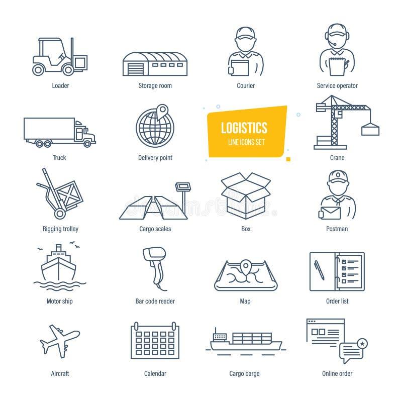 Linha ícones da logística ajustados Entrega, logística Embalagem, transporte, transporte, seguindo ilustração stock
