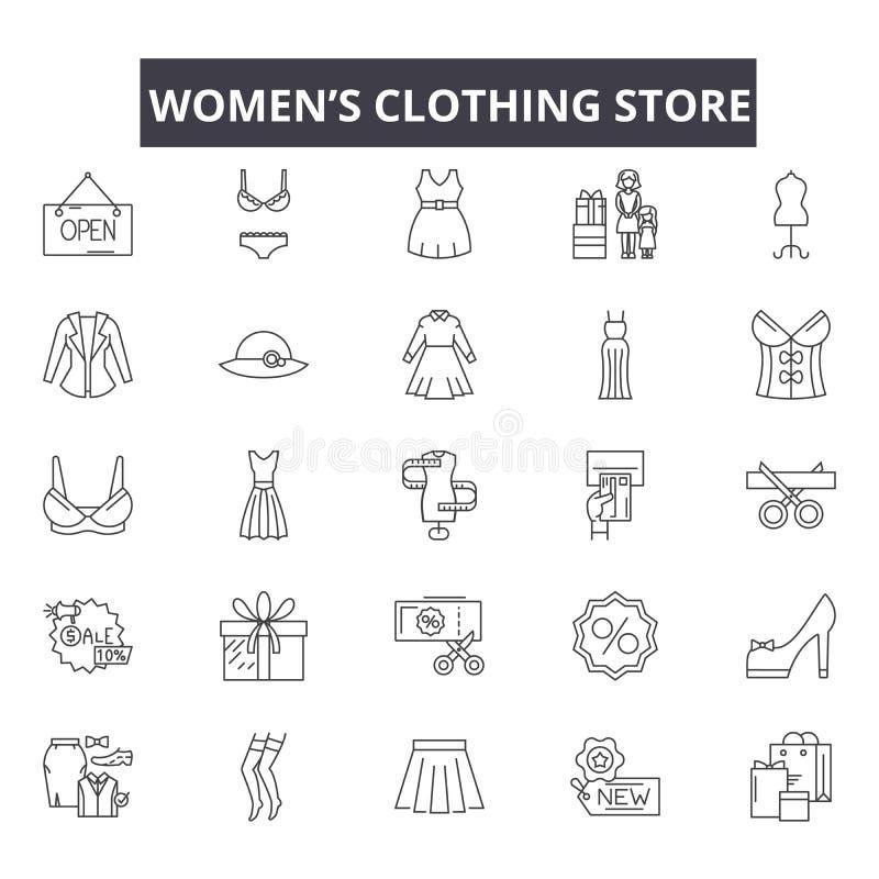 Linha ícones da loja de roupa das mulheres, sinais, grupo do vetor, conceito linear, ilustração do esboço ilustração stock