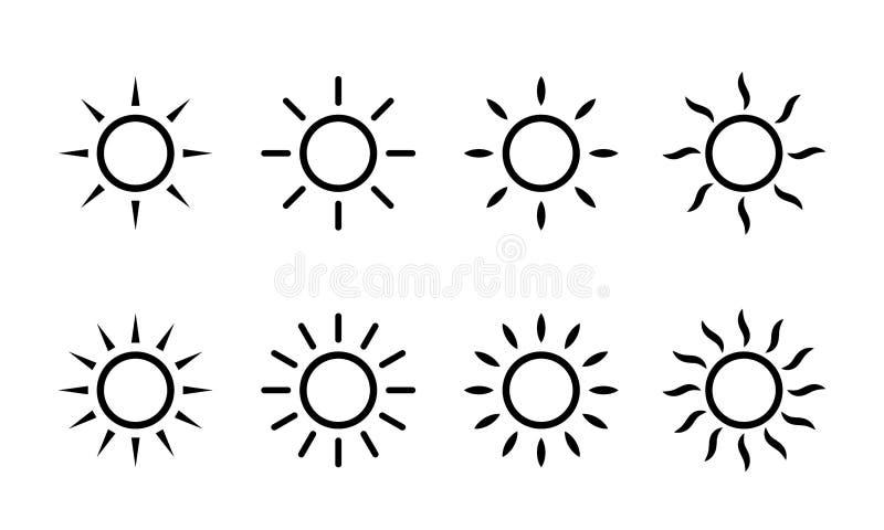 Linha ícones da luz do sol do vetor de Sun Ícone simples do sol com raios ou feixes da luz solar ilustração royalty free