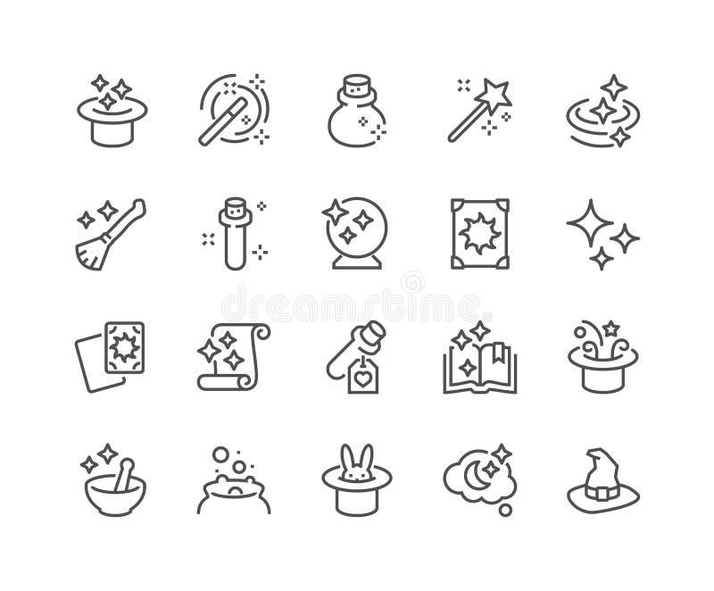 Linha ícones da mágica ilustração do vetor