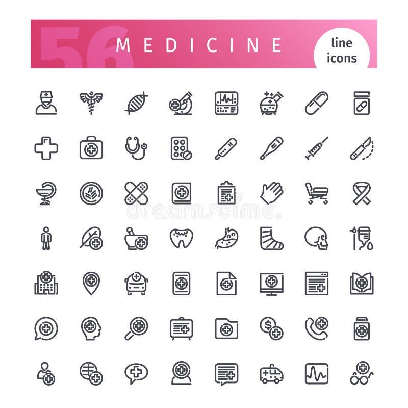 Linha ícones da medicina ajustados ilustração do vetor